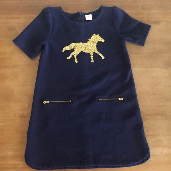 Girls Gymboree Horse Navy Blue Gold Dress Size 6